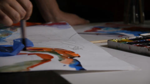 Artist draws picture Stock Video Footage