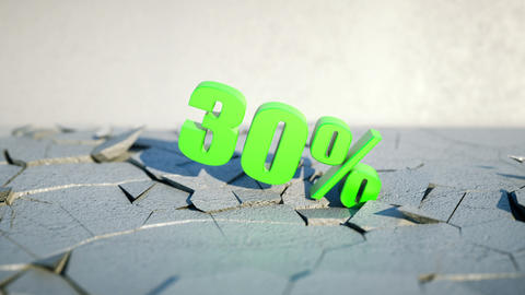 30 percent discount falling and smashing the ground with... Stock Video Footage