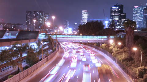 City Traffic - Night Time lapse. Tel-Aviv. Israel Footage