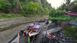 Long Tail Boat At Ebb, Aonang, Thailand stock footage