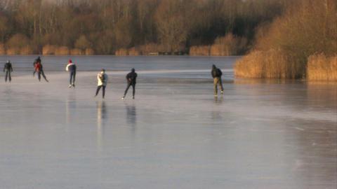 Skating on natural ice Footage