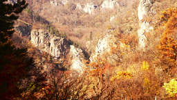 Carpathian Mountains in the autumn.Monastery in the mountains Pan tilt up Footage