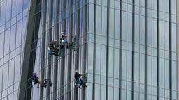 Skyscraper window cleaners Footage