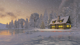 Illuminated rustic house and christmas tree at snowfall evening Footage
