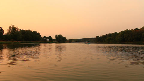 landscape with river in the evening Footage