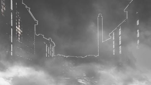 Night City Shrouded In Smoke stock footage