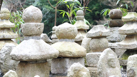 Stone Buddhist statues tomb in Japanese shrine Footage