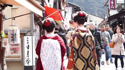 KYOTO, JAPAN - MARCH 2015: rear view of beautiful Japanese Geishas in beautiful  Footage