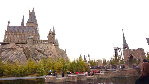 OSAKA, JAPAN - MARCH 2015: facade of The Hogwarts castle in Universal Footage