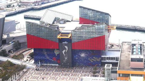 OSAKA, JAPAN - MARCH 2015: Osaka Aquarium Kaiyukan from ferris wheel top view Footage