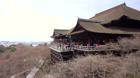 Kyoto, Japan - March 2015 - Kiyomizu dear Japanese world heritage landmark templ Footage