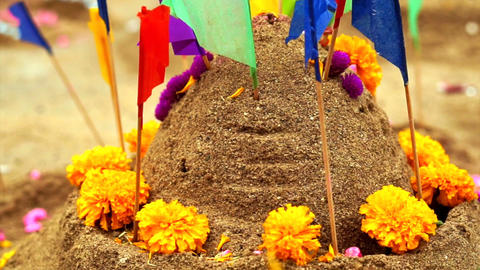 beautiful decorate sand castle with flags and flower for... Stock Video Footage