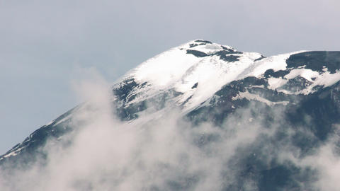 Tungurahua Volcano Crater Covered By Ice Footage