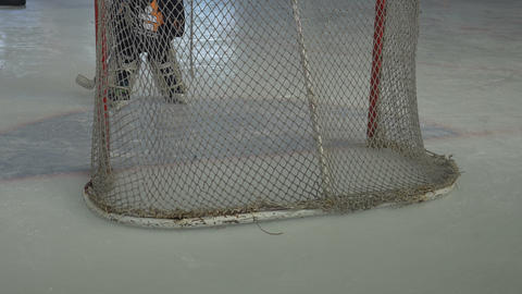Hockey Goalkeeper on Ice Footage