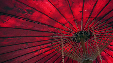Oriental red umbrella with green leaves and sun shine. Travel to Asia abstract b Footage