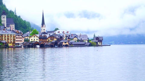 Hallstatt, Austria - UNESCO World heritage. Landmark view of the church Footage