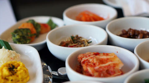 Traditional Korean side dishes food, many menu Live Action