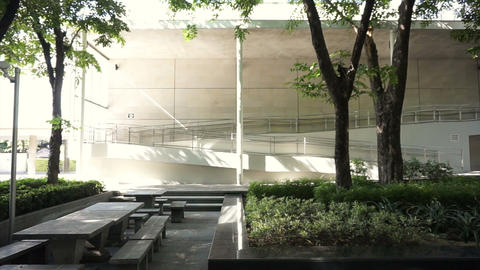 Morning light on white architect with natural view from the garden Footage