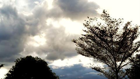Pan shot beautiful cloudy sky with golden light Footage