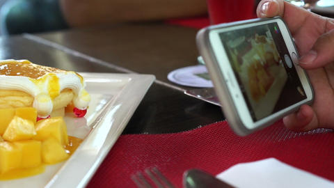 aking photo of food from smart phone. digital generation... Stock Video Footage
