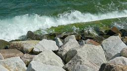 Sea. Waves crashing on rocks. Slow motion Live Action