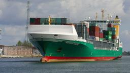 Huge container ship entering port in Gdansk Footage