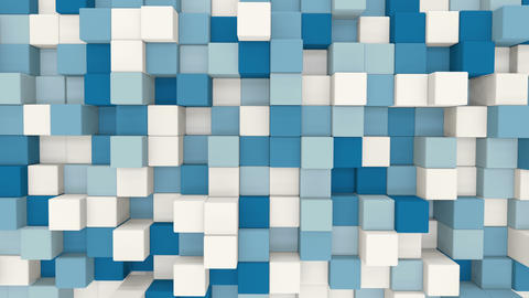 blue and white 3D cubes loopable geometric background 4k UHD (3840x2160) Animation