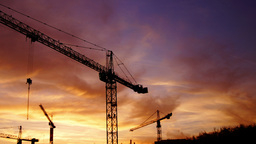Bucharest, Romania - November 2015 Cranes Working For A New Mall, Static Shot stock footage
