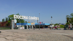 Historical second gate entrance of the Gdansk Shipyard Footage