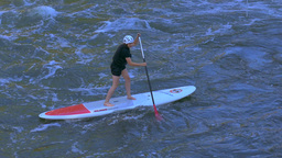 Stand Up Paddle Boarding, Bamberg, Franconia, Germany stock footage