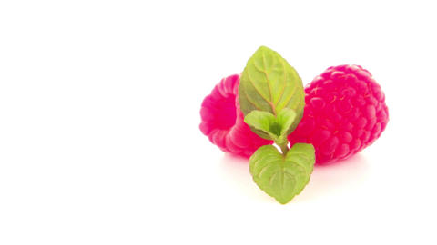 Ripe raspberry with leaf Footage