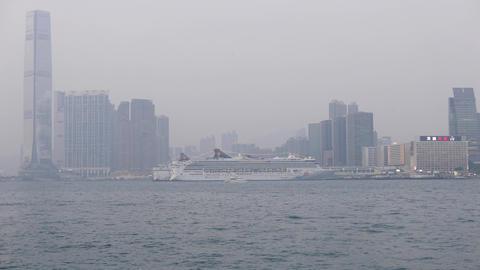 Foggy View Of The Victoria Harbour In HongKong, Cruise Liner stock footage
