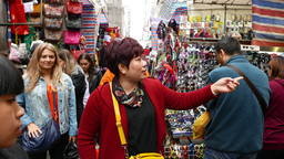 Walk through colorful market full of souvenirs and goods Footage
