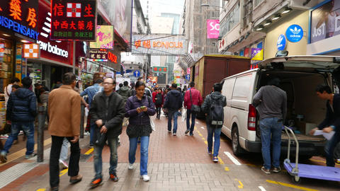 Busily street of HongKong, walking through the crowded place Footage
