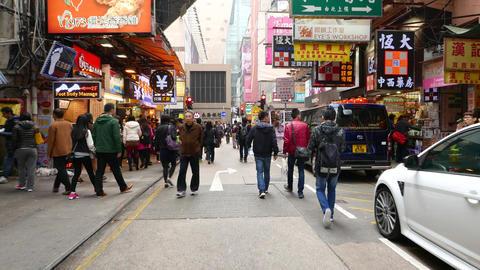 Crowdy street of HongKong, struggle forward through the crowd Footage