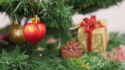 Decoration of Christmas tree red heart toy Stock Video Footage