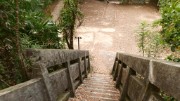 Walking down by mossy concrete staircase, old and forsaken Footage