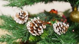 Decoration of Christmas tree Purple ball. Pan Stock Video Footage