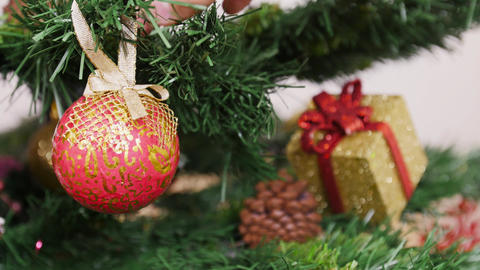Decoration of Christmas tree red ball Stock Video Footage