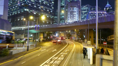 Light traffic on night street, rear view from second... Stock Video Footage