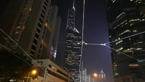 Triangle lines illumination BOC skyscraper outline... Stock Video Footage