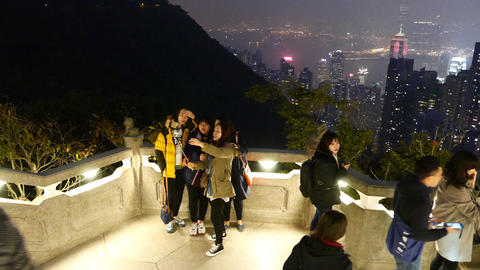 Group of teenager tourist make selfie against wonderful... Stock Video Footage