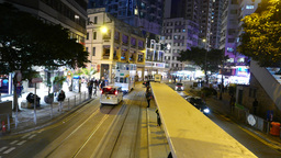 Night street view from rear window of double decker tram Stock Video Footage