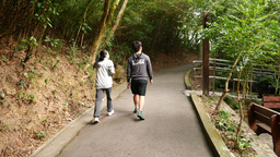 Following young asian couple rising up forest track Stock Video Footage