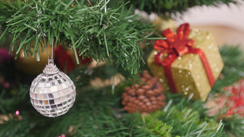 Decoration of Christmas tree mirror ball Stock Video Footage