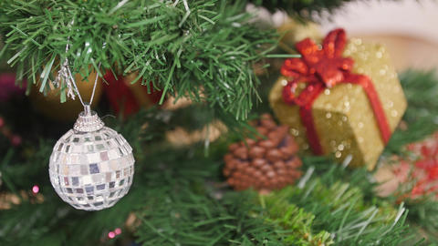Decorate of Christmas tree mirror ball. Reflection Stock Video Footage