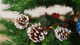 Decoration of Christmas tree red boot. Pan Stock Video Footage
