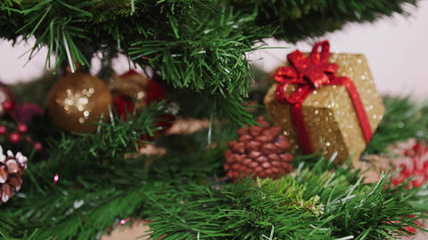 Decoration of Christmas tree golden boot Stock Video Footage