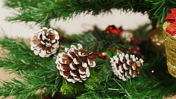 Decoration of Christmas tree golden boot. Pan Stock Video Footage