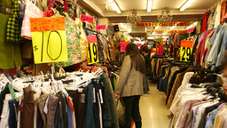 Cheap garments shop in the market, chinatown, price tag in HKD Footage